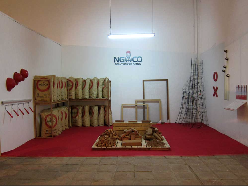 NGACO : Solution for nation, exhibition view Aditya Novali's work in this exhibition is a combination of installation, design, and even performative object that is connected to very basic idea about wall.