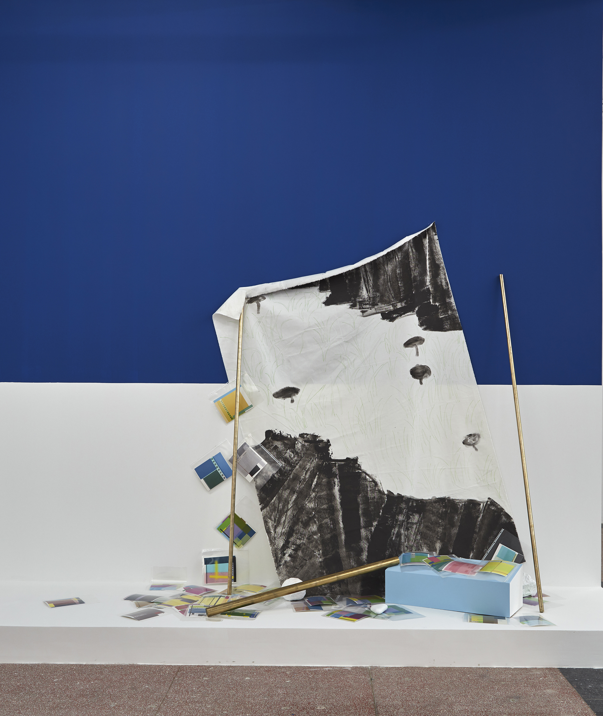 Liu Ding, 1988 Language as Issue, oil painting on the canvas, brass sticks, documents, dimension variable, 2016