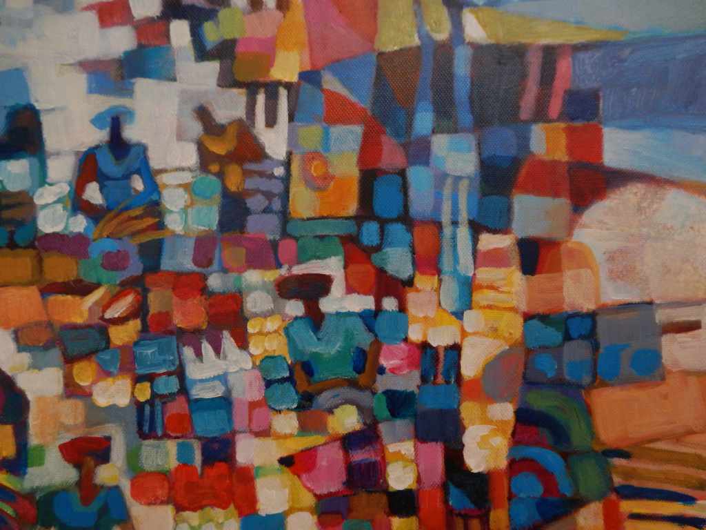 Tin Maung Oo, Market Day, acrylic on canvas, 2015 (detail)