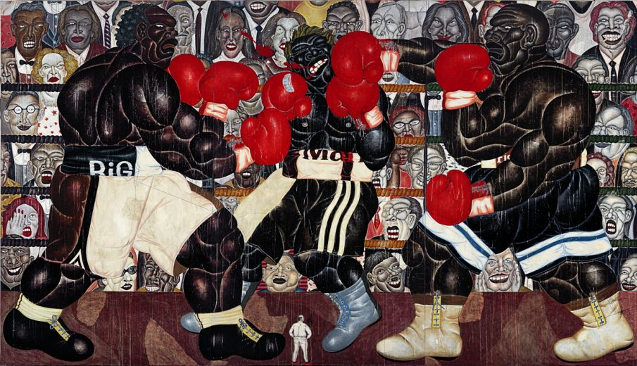 Nyoman Masriadi, The man from Bantul (The final round), mixed media on canvas, 250 x 435 cm, Mixed Media and Canvases, courtesy of the artist