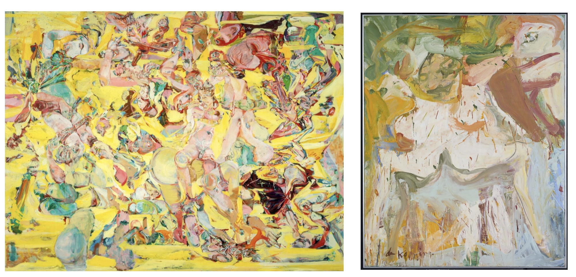 (Left) Cecily Brown, Can Can,1998. Oil on Canvas. 192.7 x 248.9cm. Courtesy of the artist. (Right) Willem de Kooning 'The Visit', 1966–7 © Willem de Kooning Revocable Trust/ARS, NY and DACS, London 2016