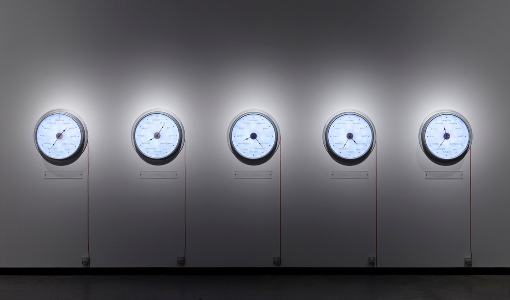 Raqs Media Collective, Now, Elsewhere, 2009; 5 clocks, high gross aluminium. Photo by Anders Sune Berg, © Faurschou Foundation