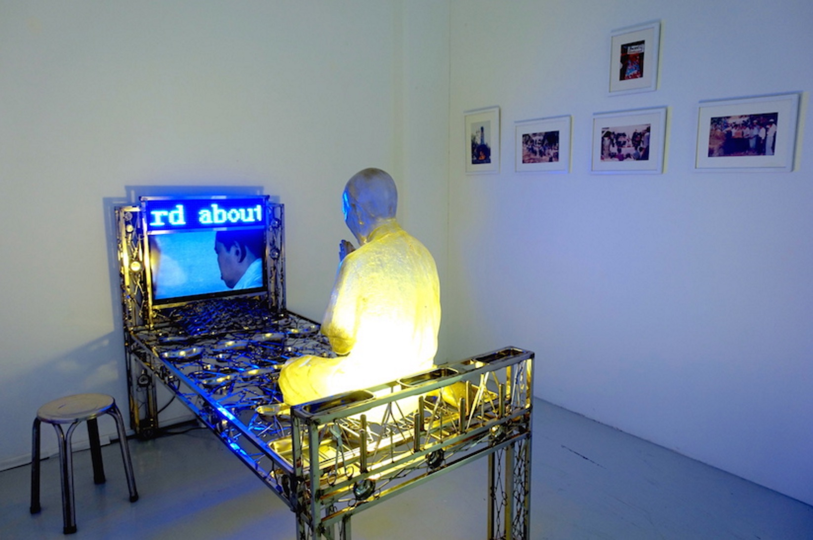 Htein Lin, Monument To My Father, 2015-16, surgical instruments and trays, LED scrolling sign, video, photographs, fibreglass, steel chair, dimensions variable
