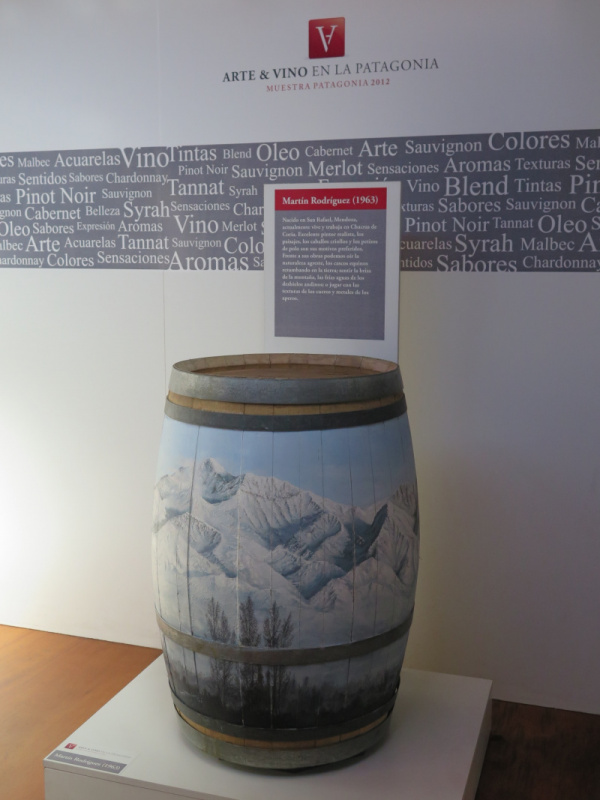 Inside Bodega del Fin del Mundo, there are decorative barrels and other installations that showcase Patagonian arts.